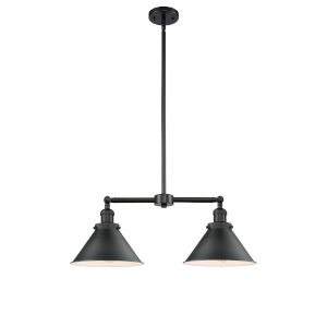 Franklin Restoration Matte Black 21-Inch Two-Light Chandelier with Matte Black Metal Shade