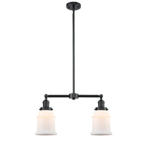 Franklin Restoration Oil Rubbed Bronze 10-Inch Two-Light Chandelier with Matte White Canton Shade