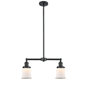 Franklin Restoration Oil Rubbed Bronze 10-Inch Two-Light LED Chandelier with Matte White Small Canton Shade
