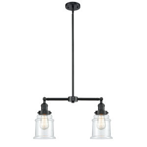 Franklin Restoration Oil Rubbed Bronze 21-Inch Two-Light LED Chandelier with Clear Canton Shade
