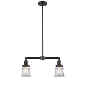 Franklin Restoration Oil Rubbed Bronze 21-Inch Two-Light LED Chandelier with Small Clear Canton Shade