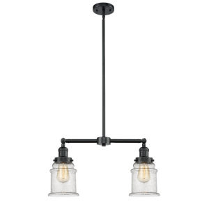 Franklin Restoration Oil Rubbed Bronze 10-Inch Two-Light Chandelier with Seedy Canton Shade