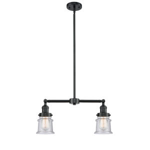 Franklin Restoration Oil Rubbed Bronze 10-Inch Two-Light Chandelier with Seedy Small Canton Shade
