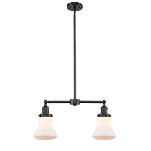 Franklin Restoration Oil Rubbed Bronze 21-Inch Two-Light Chandelier with Matte White Bellmont Shade