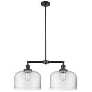 X-Large Bell Oil Rubbed Bronze Two-Light Chandelier with Clear Glass