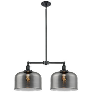 X-Large Bell Oil Rubbed Bronze Two-Light Chandelier with Plated Smoked Glass