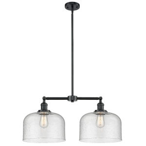 X-Large Bell Oil Rubbed Bronze Two-Light LED Chandelier with Seedy Glass