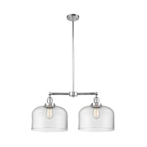 X-Large Bell Polished Chrome Two-Light Chandelier with Clear Glass