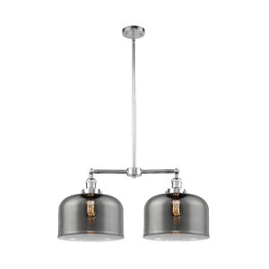 X-Large Bell Polished Chrome Two-Light Chandelier with Plated Smoked Glass