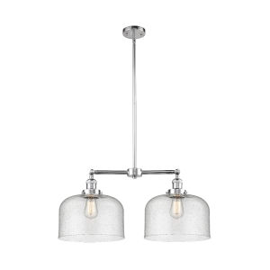 X-Large Bell Polished Chrome Two-Light Chandelier with Seedy Glass