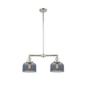 Large Bell Polished Nickel Two-Light LED Chandelier with Plated Smoked Glass