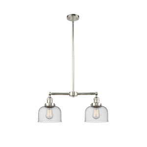 Large Bell Polished Nickel Two-Light LED Chandelier with Seedy Glass