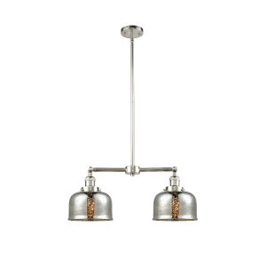 Large Bell Polished Nickel 24-Inch Two-Light Chandelier
