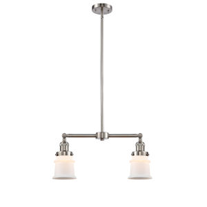 Franklin Restoration Brushed Satin Nickel 10-Inch Two-Light Chandelier with Matte White Small Canton Shade