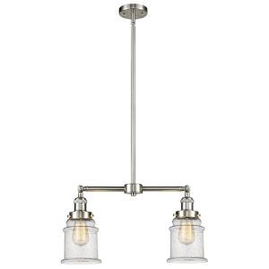 Franklin Restoration Brushed Satin Nickel 10-Inch Two-Light LED Chandelier with Seedy Canton Shade