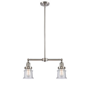 Franklin Restoration Brushed Satin Nickel 10-Inch Two-Light LED Chandelier with Seedy Small Canton Shade