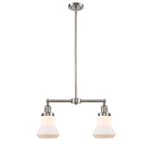 Franklin Restoration Brushed Satin Nickel 21-Inch Two-Light LED Chandelier with Matte White Bellmont Shade