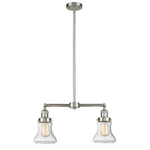 Franklin Restoration Brushed Satin Nickel 21-Inch Two-Light LED Chandelier with Seedy Bellmont Shade