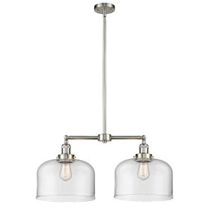 X-Large Bell Brushed Satin Nickel Two-Light Chandelier with Clear Glass