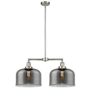 X-Large Bell Brushed Satin Nickel Two-Light LED Chandelier with Plated Smoked Glass