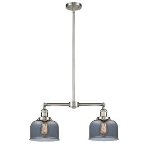 Large Bell Brushed Satin Nickel Two-Light LED Chandelier with Plated Smoked Glass