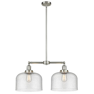 X-Large Bell Brushed Satin Nickel Two-Light LED Chandelier with Seedy Glass