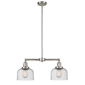Large Bell Brushed Satin Nickel Two-Light LED Chandelier with Seedy Glass