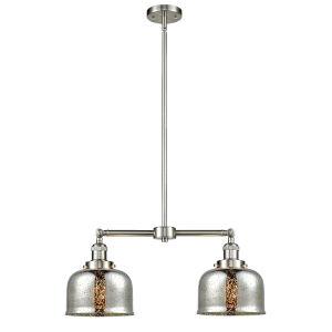 Large Bell Brushed Satin Nickel 24-Inch Two-Light LED Chandelier
