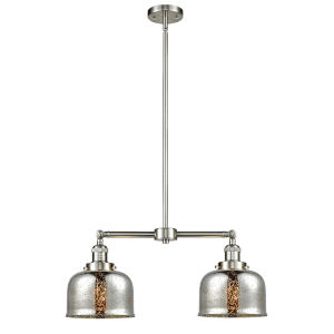 Large Bell Brushed Satin Nickel 24-Inch Two-Light Chandelier