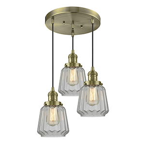Chatham Antique Brass Three-Light Pendant with Clear Fluted Novelty Glass