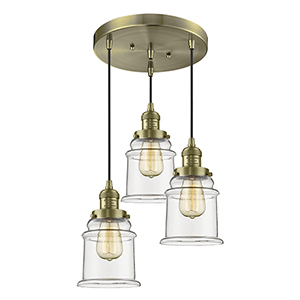 Canton Antique Brass Three-Light Pendant with Clear Bell Glass