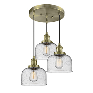 Large Bell Antique Brass Three-Light Pendant with Seedy Dome Glass