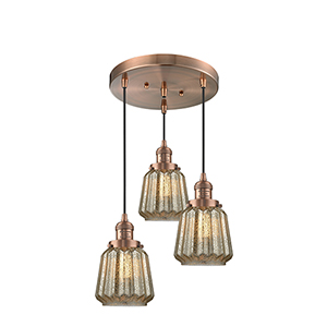 Chatham Antique Copper Three-Light Pendant with Mercury Fluted Novelty Glass