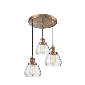 Fulton Antique Copper Three-Light Pendant with Clear Sphere Glass