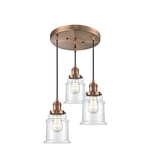Canton Antique Copper Three-Light Pendant with Clear Bell Glass