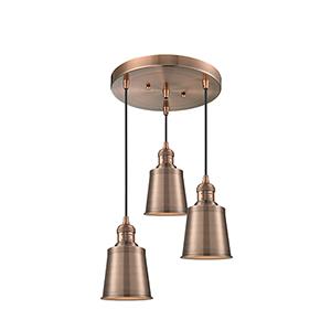 Addison Antique Copper Three-Light Pendant
