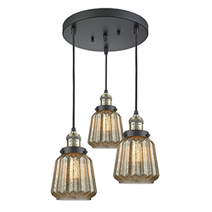 Chatham Black Antique Brass Three-Light Pendant with Mercury Fluted Novelty Glass