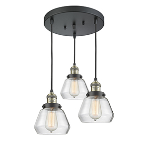 Fulton Black Antique Brass Three-Light Pendant with Clear Sphere Glass