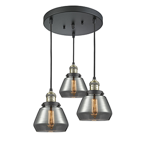 Fulton Black Antique Brass Three-Light Pendant with Smoked Sphere Glass