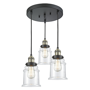 Canton Black Antique Brass Three-Light Pendant with Clear Bell Glass