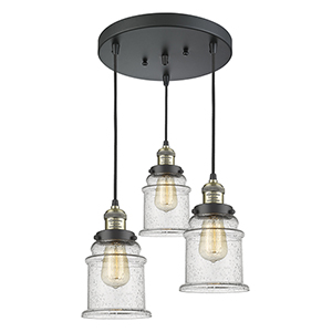 Canton Black Antique Brass Three-Light Pendant with Seedy Bell Glass