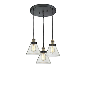 Large Cone Black Antique Brass Three-Light Pendant with Clear Cone Glass