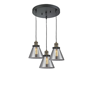 Large Cone Black Antique Brass Three-Light Pendant with Smoked Cone Glass