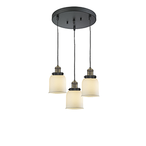 Small Bell Black Antique Brass Three-Light Pendant with Matte White Cased Bell Glass