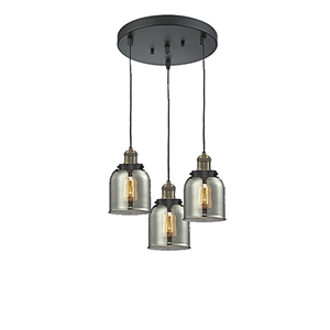 Small Bell Black Antique Brass Three-Light Pendant with Smoked Bell Glass