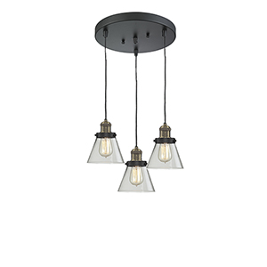 Small Cone Black Antique Brass Three-Light Pendant with Clear Cone Glass