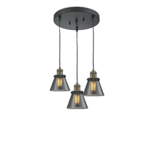 Small Cone Black Antique Brass Three-Light Pendant with Smoked Cone Glass