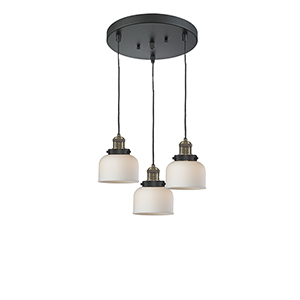 Large Bell Black Antique Brass Three-Light Pendant with Matte White Cased Dome Glass