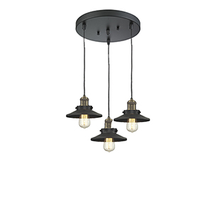 Railroad Black Antique Brass Three-Light Pendant with Matte Black Metal Shade