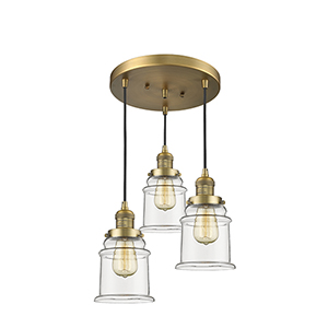Canton Brushed Brass Three-Light Pendant with Clear Bell Glass